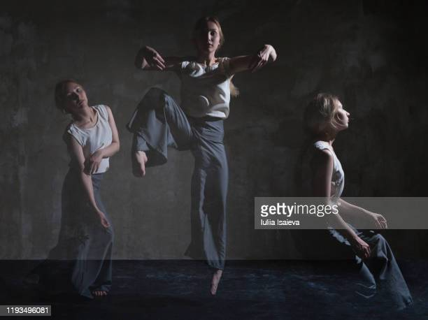 creative staging of woman dancing in simple costumes - multiple exposure sport stock pictures, royalty-free photos & images