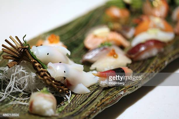 A creative sushi dish sits on display during the Global Sushi Challenge competition 2015 in Tokyo Japan on Wednesday Sept 2 2015 The highest price...