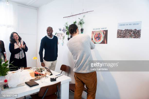 creative team of sustainable business, brainstorming - the black tape project stock-fotos und bilder