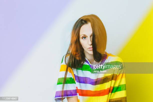 creative woman, creative portrait, artist, individuality, stripes, colorful portrait - selbstporträt stock-fotos und bilder
