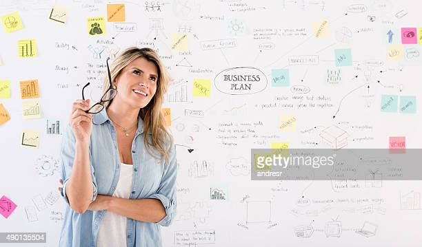 Creative woman thinking about a business plan