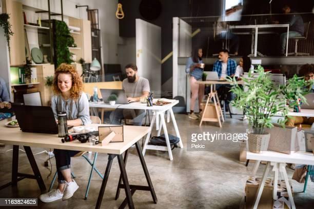 creative woman working at office - questioni ambientali foto e immagini stock