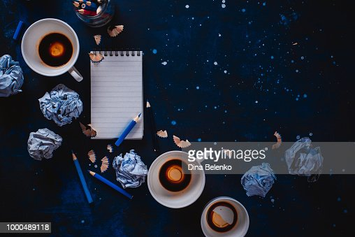 Creative Writing Concept With Lined Note Paper Empty Coffee