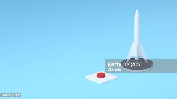 creativity and ideas. rocket 3d startup concept - launch event stock pictures, royalty-free photos & images