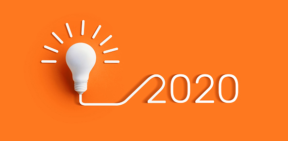 2020 creativity inspiration concepts with lightbulb on color background.Business solution 1167056909