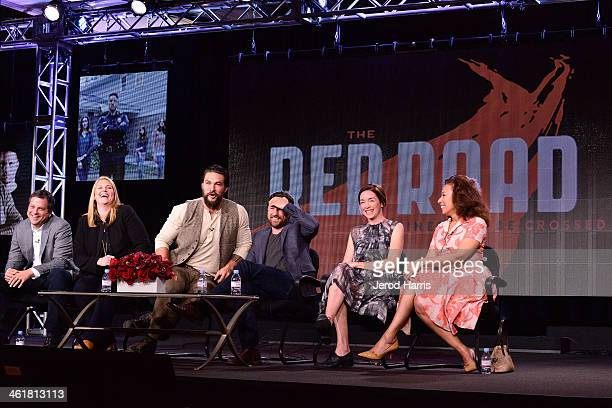 Creator Aaron Guzikowski Executive producer Bridget Carpenter Jason Momoa Martin Henderson Julianne Nicholson and Tamara Tunie attend TCA...