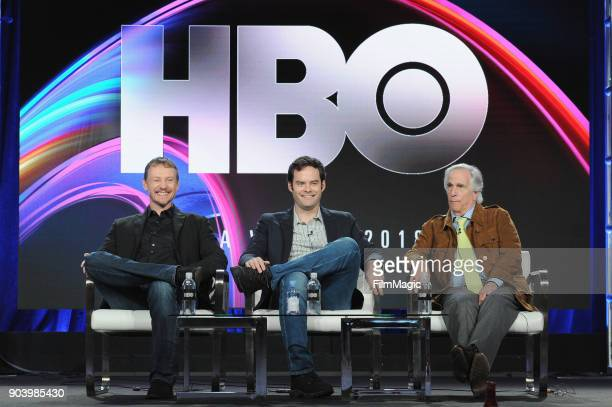 Creator Alec Berg creator Bill Hader and actor Henry Winkler sppeak on stage at HBO Winter TCA 2018 on January 11 2018 in Pasadena California