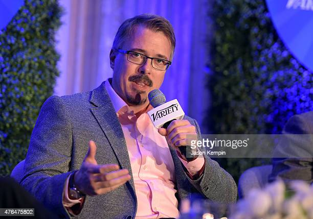 Creator and Executive Producer Better Call Saul Vince Gilligan speaks at TUNE IN Variety's TV Summit at the Four Seasons Hotel on June 9 2015 in Los...