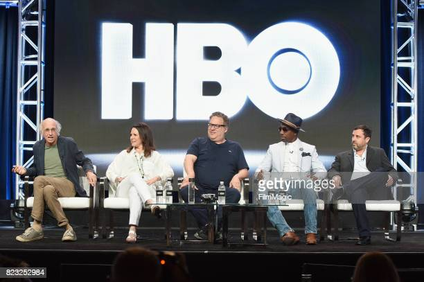 Creator and executive producer Larry David actors Susie Essman Jeff Garlin JB Smoove and executive producer Jeff Schaffer speak onstage during the...