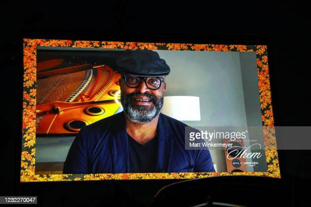 "Creator and Executive Producer Little Marvin appears on screen during Amazon Studios' ""Them"" Drive-in Special Screening on April 08, 2021 in Compton,..."