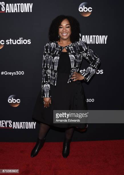 Creator and executive producer Shonda Rhimes arrives at the 300th Episode Celebration for ABC's 'Grey's Anatomy' at TAO Hollywood on November 4 2017...