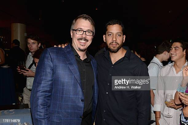Creator and Executive Producer Vince Gilligan and magician David Blaine attend the Breaking Bad NY Premiere 2013 after party at Lincoln Ristorante on...