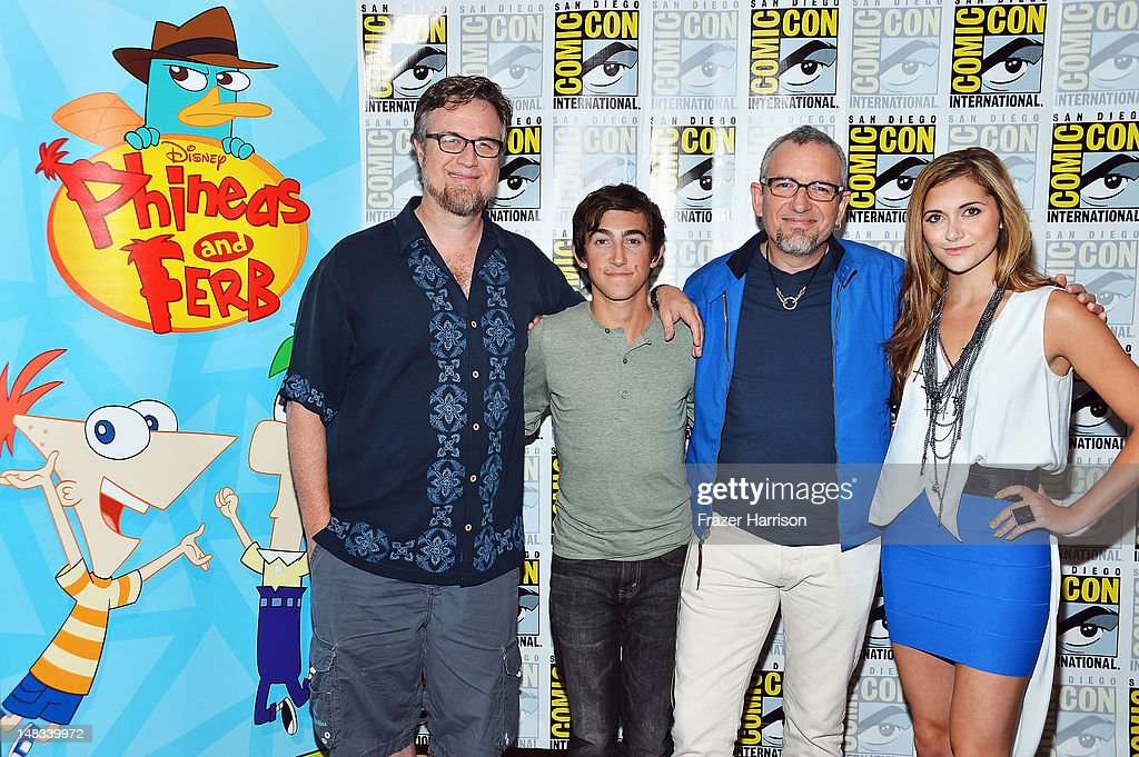 Creator Dan Povenmire, actor Vincent Martella, creator Jeff 'Swampy' Marsh and Alyson Stoner attend Disney's 'Phineas And Ferb' 'Gravity Falls' and 'Fish Hooks' Press Room during Comic-Con International 2012 at Hilton San Diego Bayfront Hotel on July 14, 2012 in San Diego, California.