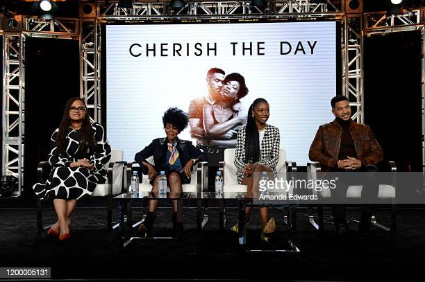 Creator Executive producer Ava DuVernay Cicely Tyson Xosha Roquemore and Alano Miller of 'Cherish The Day' speak onstage during the OWN Oprah Winfrey...