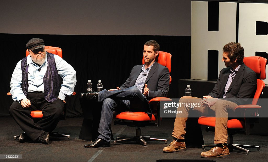 Creator George R.R. Martin, Writer/producer D.B. Weiss and writer/executive producer David Benioff speak during HBO's 'Game Of Thrones' Season 3 at Palace Of Fine Arts Theater on March 20, 2013 in San Francisco, California.