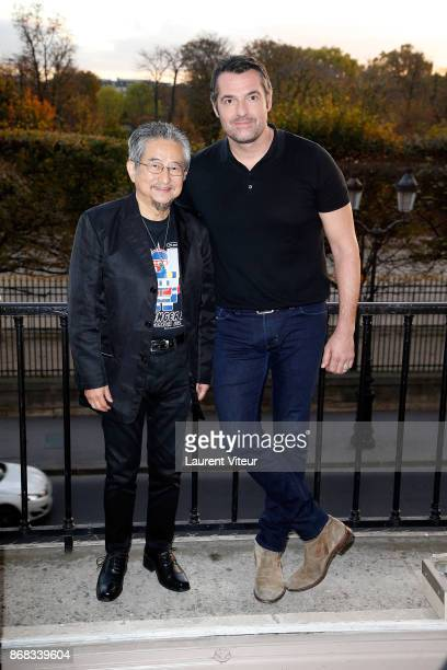 Creator Go Nigai and Actor Arnaud Ducret attend 'Mazinger Z Infinity' Paris Premiere Photocall at Hotel Westin on October 30 2017 in Paris France