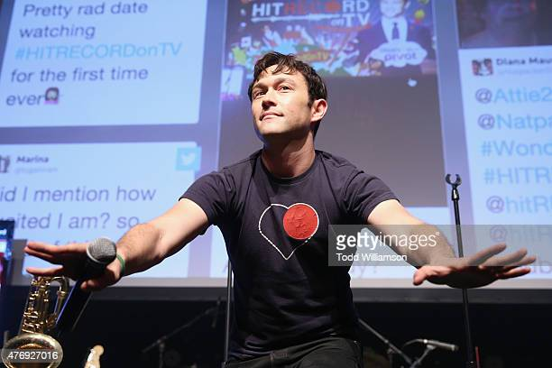 Creator Joseph GordonLevitt speaks onstage during a premiere party for the second season of Hit Record On TV with Joseph GordonLevitt hosted by...