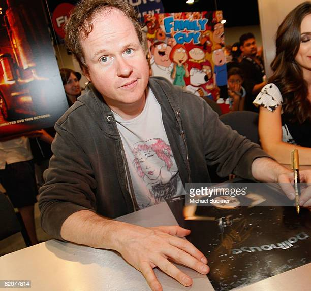 """Creator Joss Whedon signs autographs at the """"Dollhouse"""" Panel during the 2008 Comic Con at the San Diego Convention Center on July 25, 2008 in San..."""