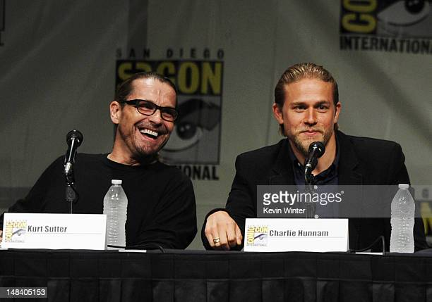 "Creator Kurt Sutter and actor Charlie Hunnam speak at ""Sons of Anarchy"" Pane during Comic-Con International 2012 at San Diego Convention Center on..."