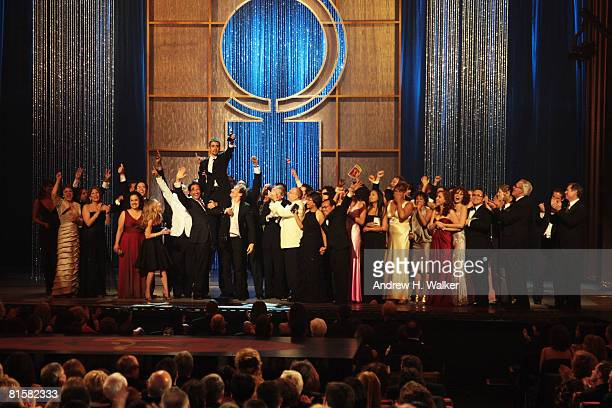 Creator LinManuel Miranda and producers and cast of 'In The Heights' accept the Tony for Best Musical onstage during the 62nd Annual Tony Awards held...