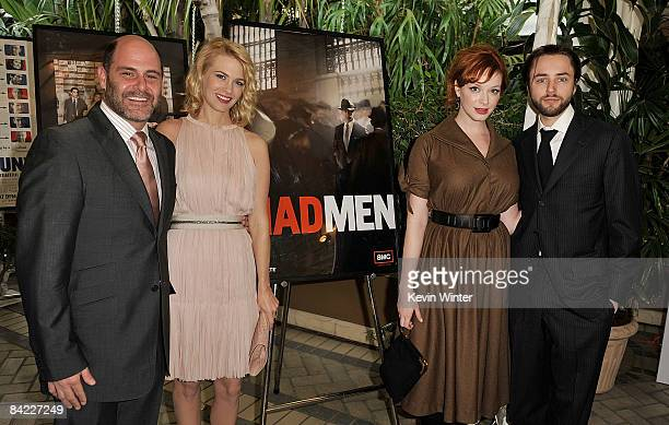 Creator Matthew Weiner, actors January Jones, Christina Hendricks, and Vincent Kartheiser arrive at the AFI Awards 2008 held at the Four Seasons...