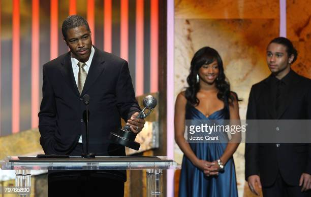 Creator of Everybody Hates Chris Ali LeRoi with actress Monique Coleman and Corbin Bleu speak onstage during the 39th NAACP Image Awards held at the...