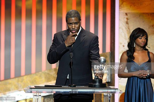 Creator of Everybody Hates Chris Ali LeRoi with actress Monique Coleman onstage during the 39th NAACP Image Awards held at the Shrine Auditorium on...