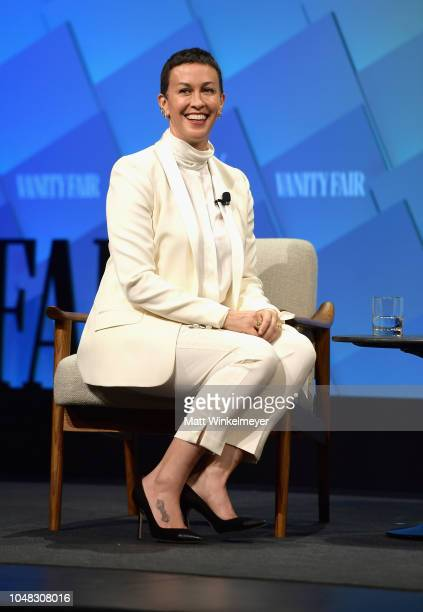 Creator of Jagged Little Pill The Musical Alanis Morissette speaks onstage at Day 1 of the Vanity Fair New Establishment Summit 2018 at The Wallis...