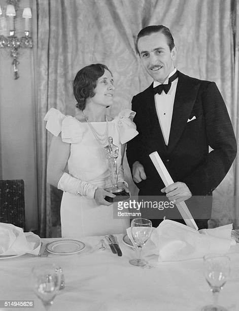 Creator of Mickey Mouse wins MPA award Walt Disney and Mrs Disney shown as they attended the banquet of the Motion Picture Academy at Hollywood...