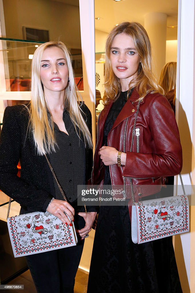 Creator of 'Preciously Paris', Carole Tessier and Founder of 'Naked Heart Foundation', Model Natalia Vodianova attend the 'Preciously Paris Bag', created to benefit Naked Heart Foundation : Launch Cocktail at Colette on November 12, 2015 in Paris, France.