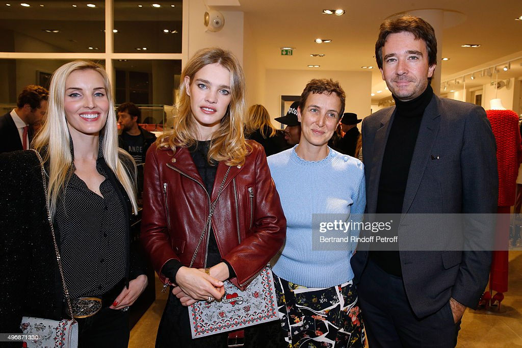 Creator of 'Preciously Paris', Carole Tessier, Founder of Naked Heart Foundation, Model Natalia Vodianova, Sarah de chez colette and General manager of Berluti Antoine Arnault attend the 'Preciously Paris Bag', created to benefit Naked Heart Foundation : Launch Cocktail at Colette on November 12, 2015 in Paris, France.
