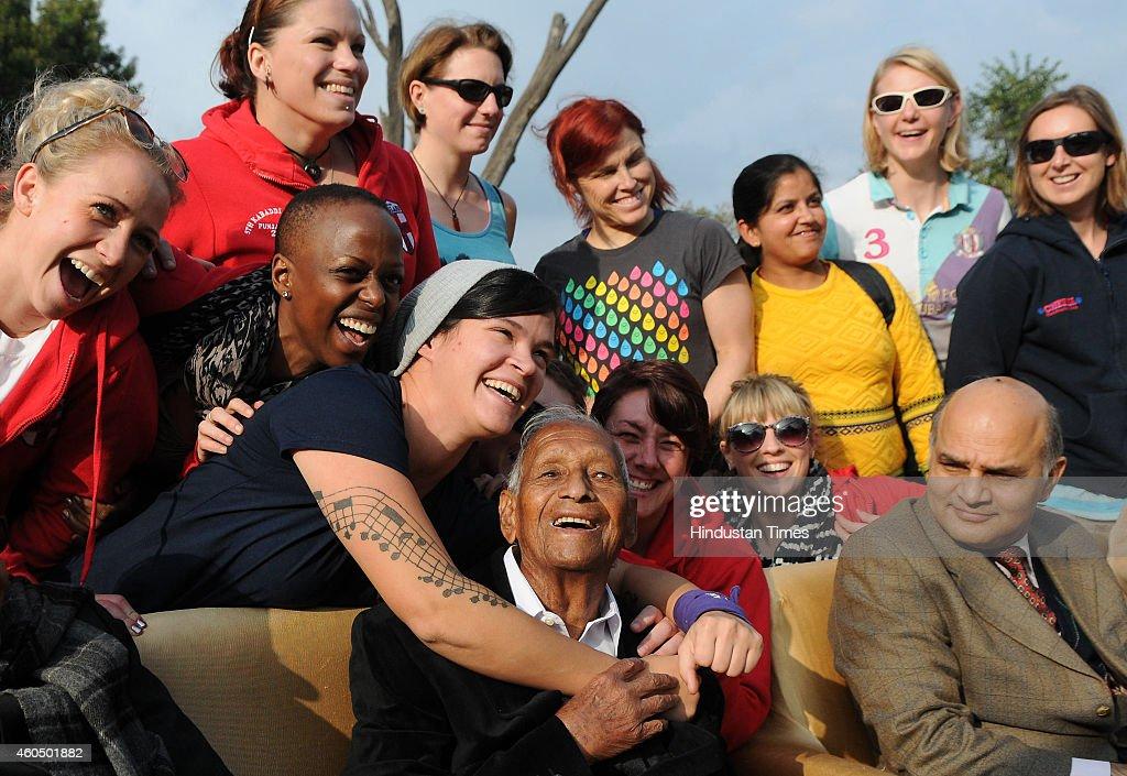 Creator of Rock Garden Padma Shri Nek Chand Saini celebrating his 90th birthday with the members of England women Kabaddi Team and family members at..