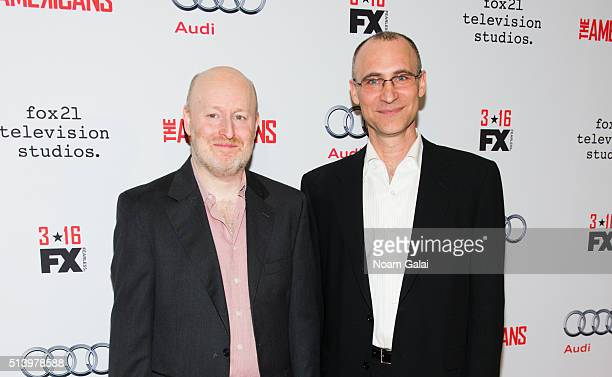 Creator of 'The Americans', Joseph Weisberg and Executive Producer Joel Fields attend 'The Americans' season 4 premiere on March 5, 2016 in New York...