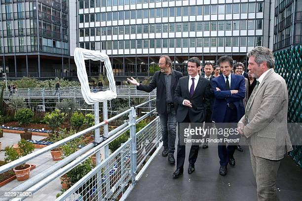 Creator of the 'Anamorphose' Anamorphosis Francois Abelanet French Prime Minister Manuel Valls President of the 'Institut du Monde Arabe' Jack Lang...