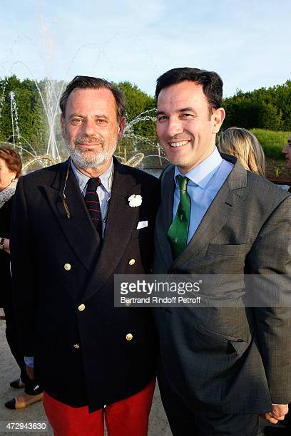 Creator of the Bosquet du Theatre d'eau Louis Benech and Olivier Josse attend the Inauguration of the Bosquet du Theatre d'eau of the Chateau de...