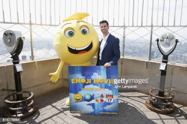 Creator of the Emoji Jeremy Burge poses as The Emoji Movie celebrates World Emoji Day at Empire State Building at The Empire State Building on July...