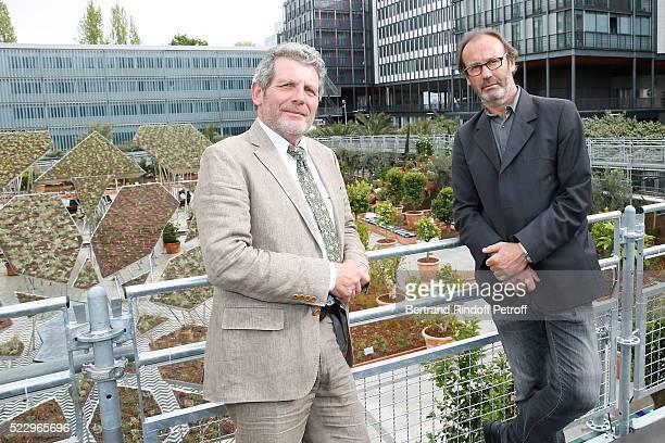 Creator of the Ephemere Garden Landscaper Michel Pena and Creator of the 'Anamorphose' Anamorphosis Francois Abelanet attend the 'Jardins d'Orient'...