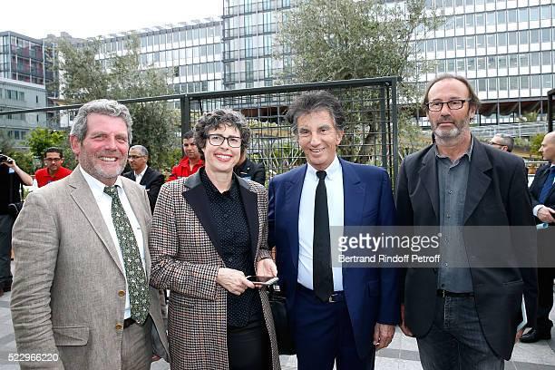 Creator of the Ephemere Garden Landscaper Michel Pena Exhibition Curator Nathalie Sultan President of the 'Institut du Monde Arabe' Jack Lang and...