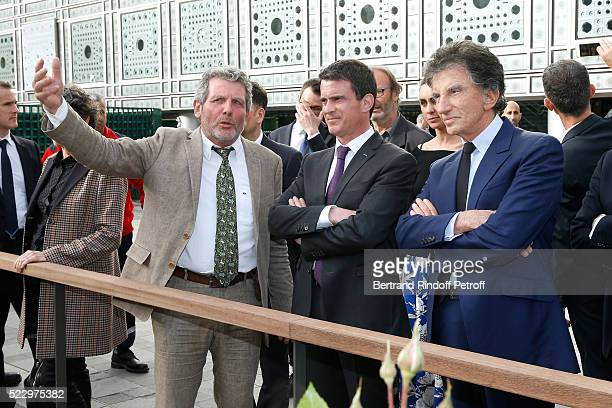 Creator of the Ephemere Garden Landscaper Michel Pena French Prime Minister Manuel Valls and President of the 'Institut du Monde Arabe' Jack Lang...