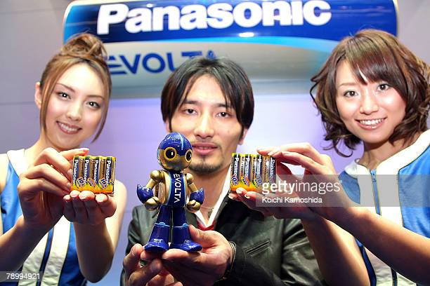 Creator of the 'EVOLTA' robot Tomotaka Takahashi introduces Panasonic's new alkaline battery 'EVOLTA' series at Tokyo Midtown on January 15 2008 in...