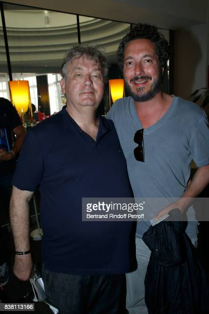 Creator of the Festival Dominique Besnehard and actor Guillaume Gallienne attend the 10th Angouleme FrenchSpeaking Film Festival Day Two on August 23...