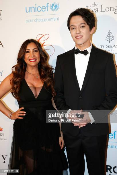 Creator of the Global Gift Maria Bravo and musician Dimash Kudaibergen attend the Global Gift the Eva Foundation Gala Photocall at Hotel George V on...