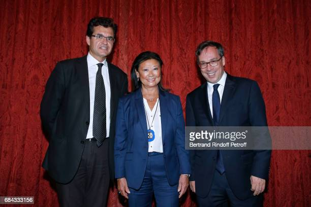 Creator of the Neighbours' Day Atanase Perifan Mayor of 8th District of Paris Jeanne D'hauteserre and Ambassador of Great Britain to paris Lord Ed...