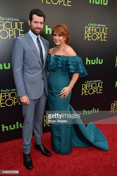 Creator producer writer and actor Julie Klausner and actor Billy Eichner attend the Hulu Original Difficult People premiere at Metrograph on July 11...