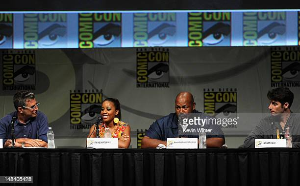 Creator Richard Appel actors Reagan GomezPreston Kevin Michael Richardson and John Viener speak at The Cleveland Show Panel during ComicCon...