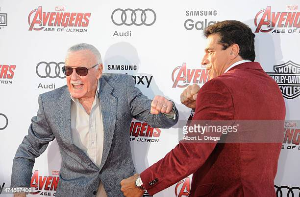 Creator Stan Lee And Actor Lou Ferrigno Arrive For The Premiere Of Marvels Avengers Age
