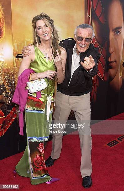 """Creator Stan Lee and daughter attend the premiere of the Sony film """"Spider-Man 2"""" on June 22, 2004 at the Mann Village Theater, in Westwood,..."""