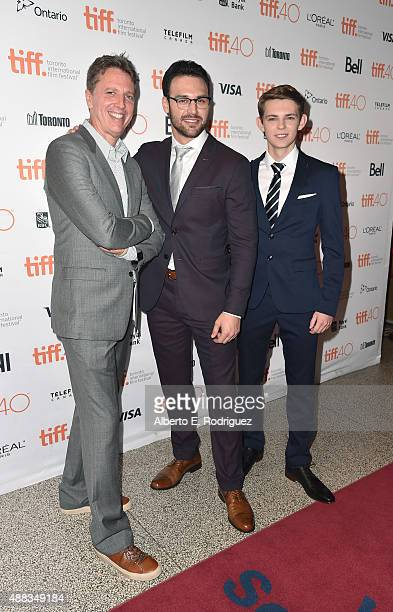 Creator Tim Kring actors Ryan Guzman and Robbie Kay attend the Heroes Reborn premiere during the 2015 Toronto International Film Festival at the...