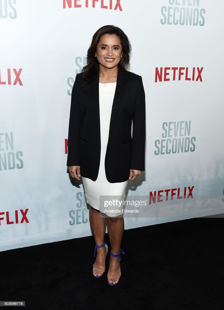 Creator Veena Sud arrives at Netflix's 'Seven Seconds' Premiere at The Paley Center for Media on February 23, 2018 in Beverly Hills, California.
