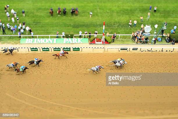 Creator with jockey Irad Ortiz Jr up and Destin with jockey Javier Castellano up race past the finish line during The 148th running of the Belmont...